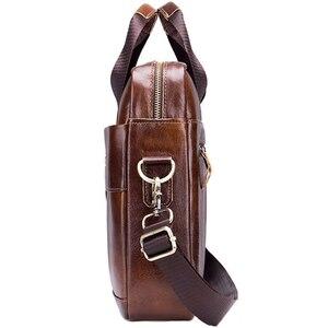 Image 3 - BULLCAPTAIN Genuine Leather MenS Briefcase Vintage Business Computer Bag Fashion Messenger Bags Man Shoulder Bag Postman