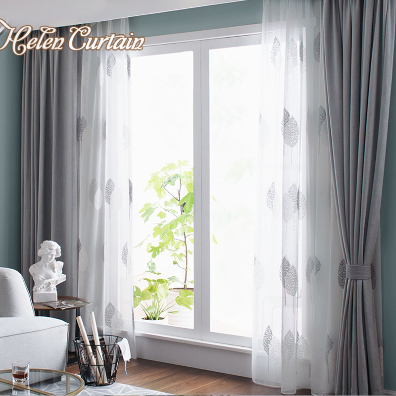 US $23.24 38% OFF|Nordic Grey Solid Curtains For Bedroom Modern Living Room  Curtains White Leaves Embroider Tulle Curtains Drapes Window Treatment-in  ...