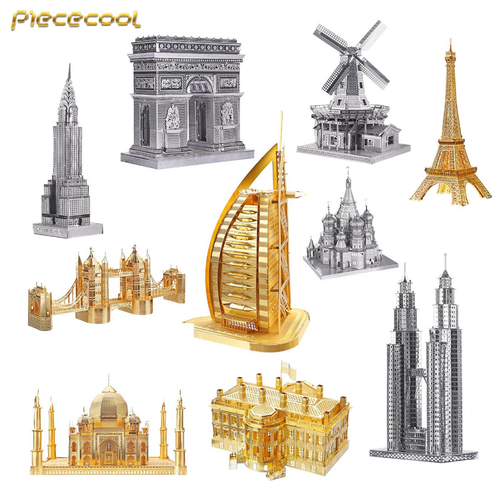 цена на Piececool 3D Metal Assembly Model Puzzle Creative Children Toys Arab Construction Eiffel Twin Tower Chrysler Building Taj Mahal