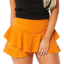 b62cc14362 Skirts Womens Layered Ruffled Frill Skorts High Waisted Mini Skirt Shorts  Red Yeelow Pink Black Colors
