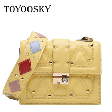 TOYOOSKY New Fashion Women Handbags Brand PU Leather Female Shoulder Bag Luxury Diamond Rivet Woman Wide Strap Messenger