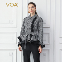 VOA Houndstooth Silk Short Coat Women Jacket Slim Outerwear Long Sleeve Belt Office Ladies Work Clothes Batwing Sleeve Fall W316