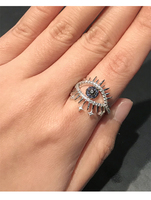 fashion monaco jewelry lucky eyes ring S925 sterling silver zircon mini star crown ring wedding gift