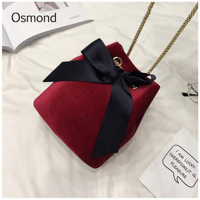 Osmond Velvet Bucket Bag Small Chain Bags Women Crossbody Bag Small Vintage Shoulder  Bags Winter Bowknot Mini Handbag Lady Bolsa f92b94ef93fcb