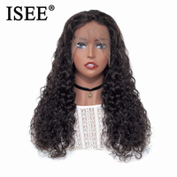 Water Wave Human Hair Wigs ISEE HAIR Lace Front Wigs Peruvian Full End Human Hair Wigs 150% Density Lace Front Human Hair Wigs