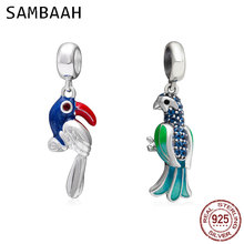 Sambaah Dangle Tropical Parrot Charm Pendant 925 Sterling Silver Enamel Parrot Beads for Original Pandora Animal Bracelet цена