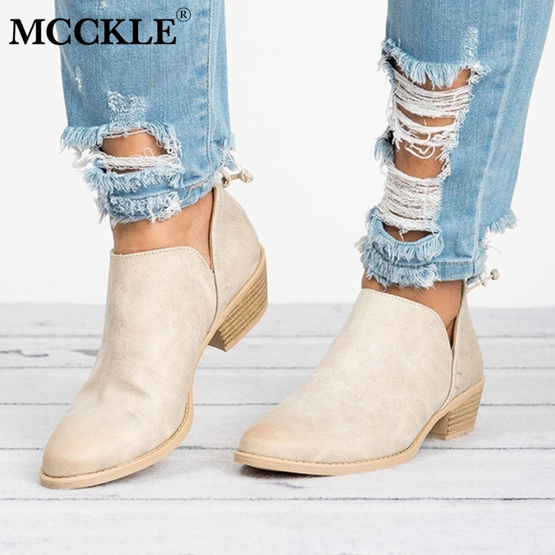 MCCKLE Autumn Women Pumps Low Heels For Female Casual Square Heel Shoes Fashion Chunky Heel Solid Concise Shoe Footwear mcckle female flat shoes women cut outs autumn espadrilles fashion flock buckle strap sewing flats casual solid footwear shoe