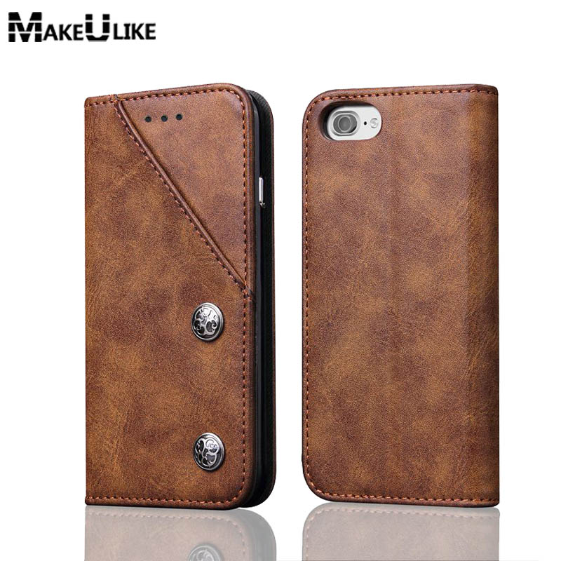 MAKEULIKE Front Card Slot Wallet Case For IPhone 7 8 Plus Flip Cover PU Leather Adsorption Phone Bag Case For IPhone 7/8 Plus