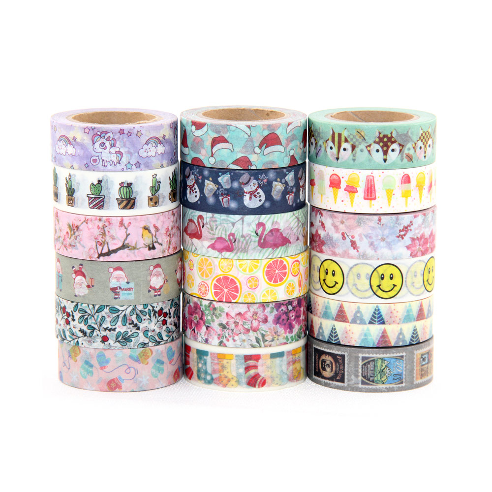 1X 15mm*10m Individual Shrink Christmas Washi Tape Cute Animal Pattern Masking Tape DIY Paper Tape new 2x christmas golden foil washi paper tape pink background golden washi tape 15mm 10m