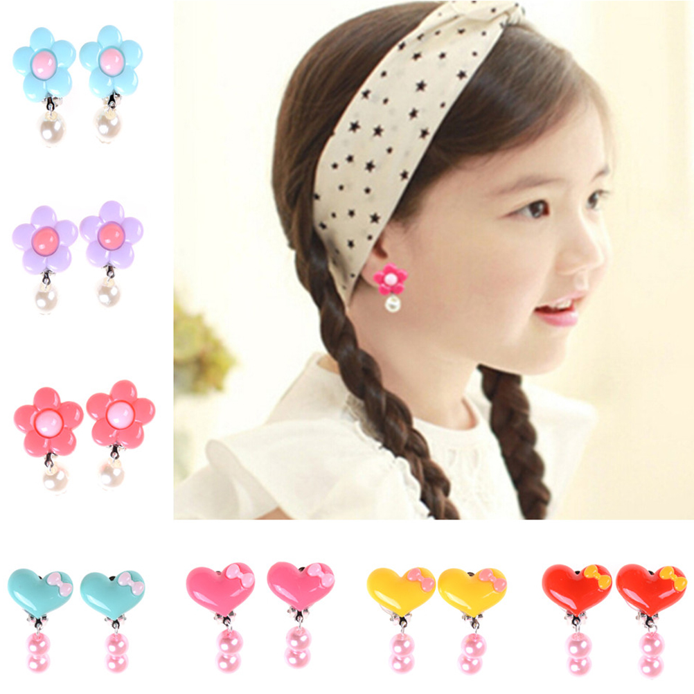 new flower dropping earring clip for kids sunshine baby girl jewelry resin round beads cute. Black Bedroom Furniture Sets. Home Design Ideas