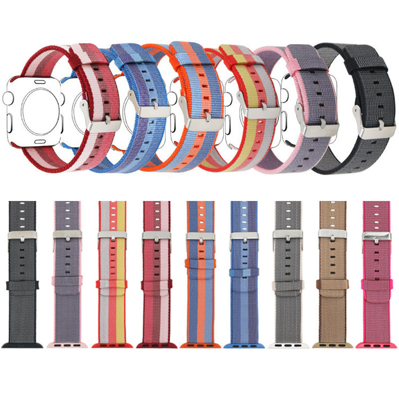 Woven Nylon Wrist Strap For Apple Watch Series 1 2 Stainless Steel Buckle Replacement Band For iWatch Sport Edition 38mm 42mm stainless steel band bracelet wrist strap for 38mm 42mm iwatch apple watch sport edition with adapter