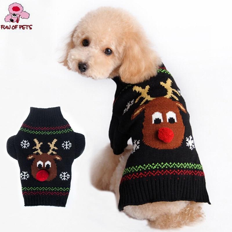 2017 podzimní a zimní vánoční červený nos sobí černá zvířata pes svetr pes oblečení pro psy