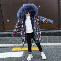Girls Fur Coat Parkas Winter Jacket Boys Coat Big Real Raccoon Fur Collar Natural Rex Rabbit Fur Liner Long Outerwear TZ339