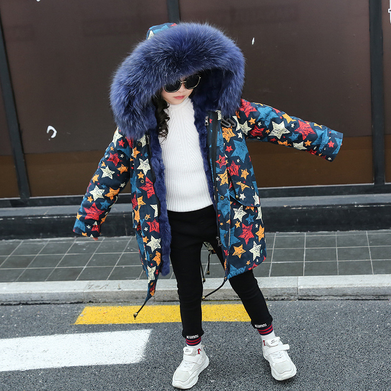 Girls Fur Coat Parkas Winter Jacket Boys Coat Big Real Raccoon Fur Collar Natural Rex Rabbit Fur Liner Long Outerwear TZ339 цена