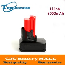 High Quality 12V 3000mA Li-ion Rechargeable Power Tool battery for Milwaukee M12 48-11-2411 48-11-2401 48-11-2402 C12 B C12