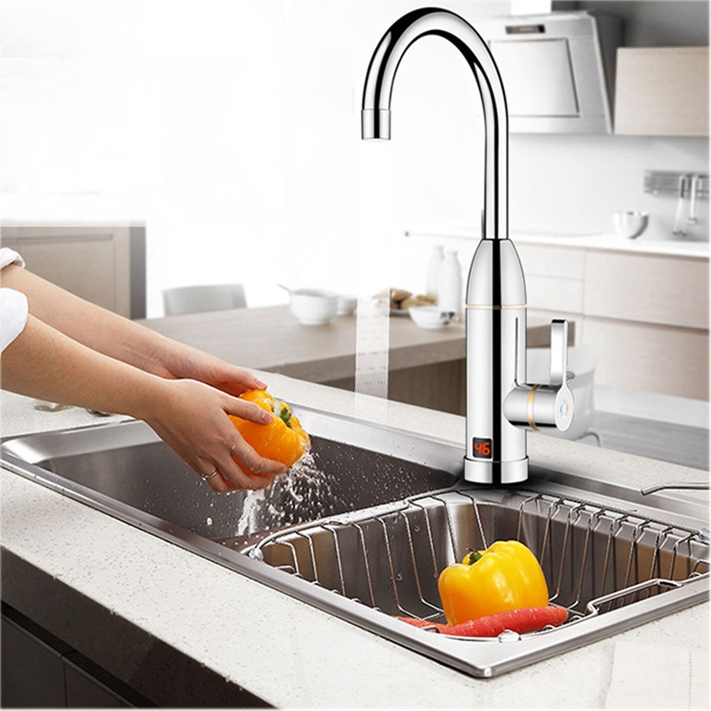 Instant Electric Faucet Fast Heating Cold Hot Mixer Taps LED Display Kitchen Bathroom Deck Mounted Faucets