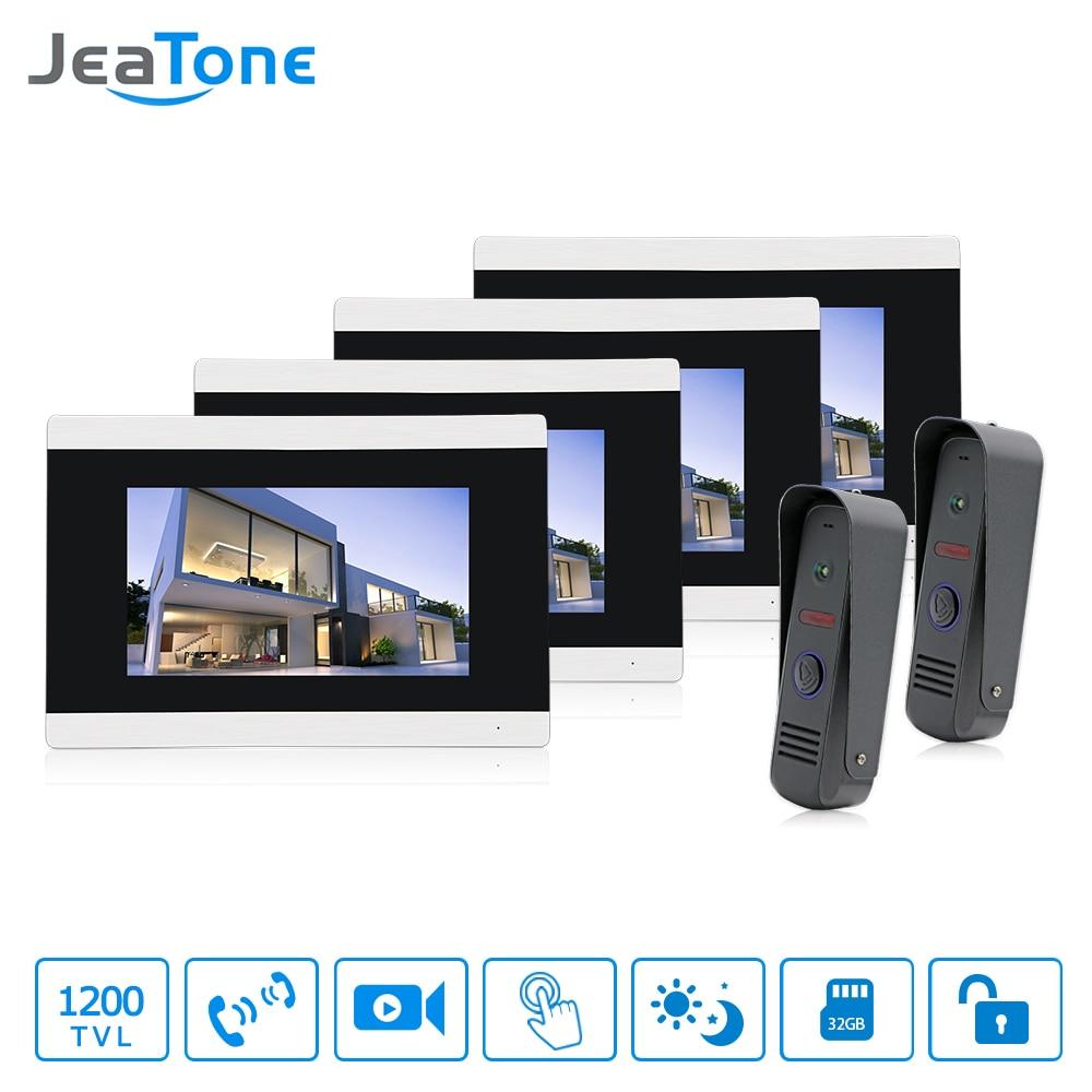Jeatone 7 Color Video Door Phone Intercom 4 Monitor Doorbell IR Night Vision Camera 1200TVL For