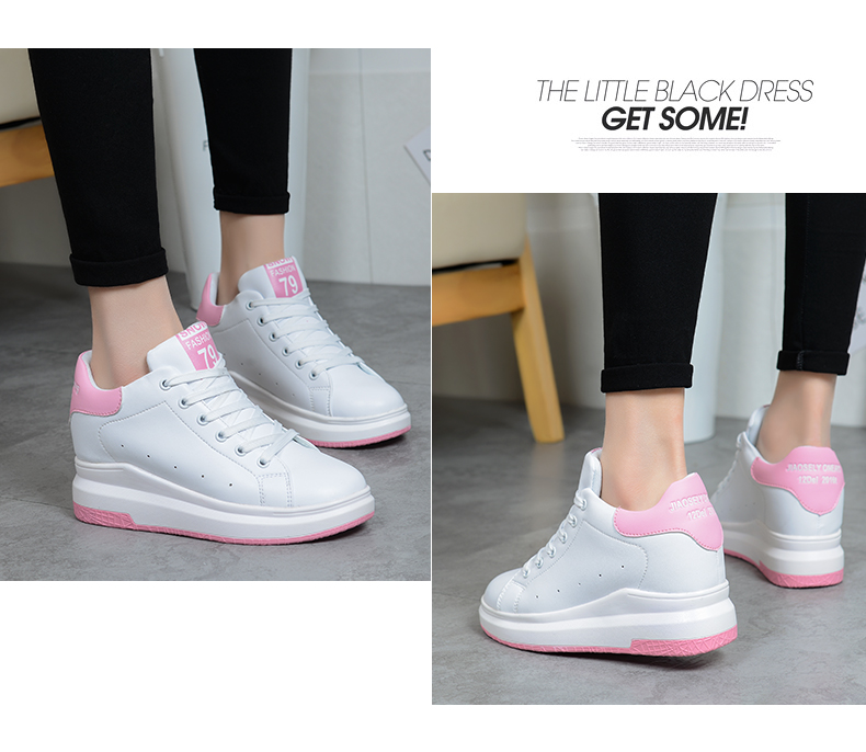 Hide Heel Wedge Leather Casual Shoes Woman 2017 Fashion Spring Lace Up Ladies Shoes Breathable Women White Shoes Superstars ZD39 (31)