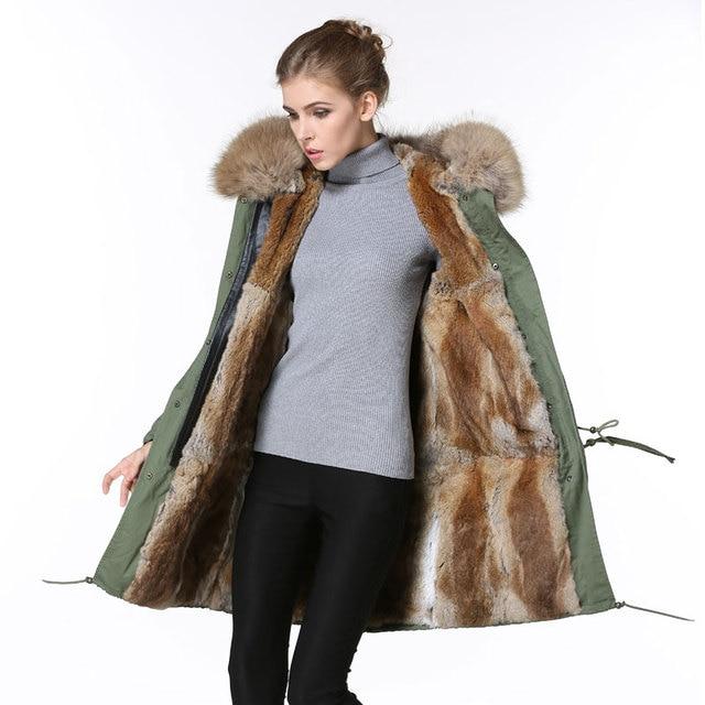 Real fur Big Raccoon fur Collar Army green Jacket women Winter Apricot natural Rabbit fur Parka