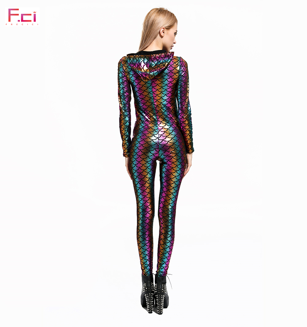 a7b651fc51316 Mermaid Rainbow Scale Jumpsuit Rompers Long Sleeve Hooded Jumpsuit Plus  Size Fish Scale One Piece Jumpsuit Front Zipper -in Jumpsuits from Women s  Clothing ...