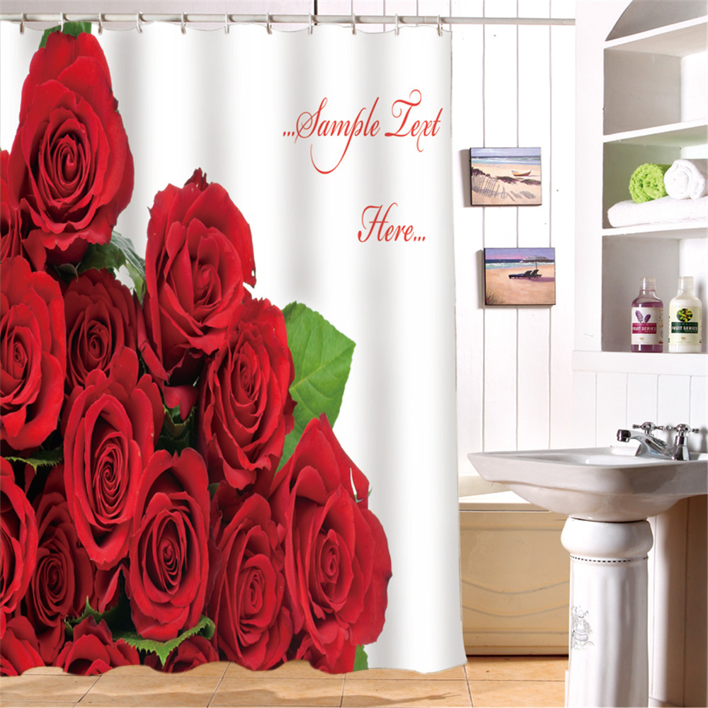 3D Oil Red Rose Wedding Princess Waterproof Bathroom Shower CurtainFashion Curtains Christmas