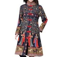 Women Coat Female Jacket Winter Warm Cotton Linen Ethnic Print Buttons Pockets Long Coat Plus Size Overcoat chaqueta mujer A8