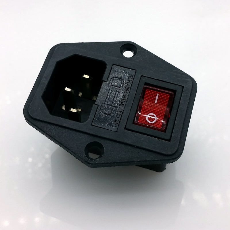 15a 250v 3pin Ac Power Socket With Power Rocker Switch