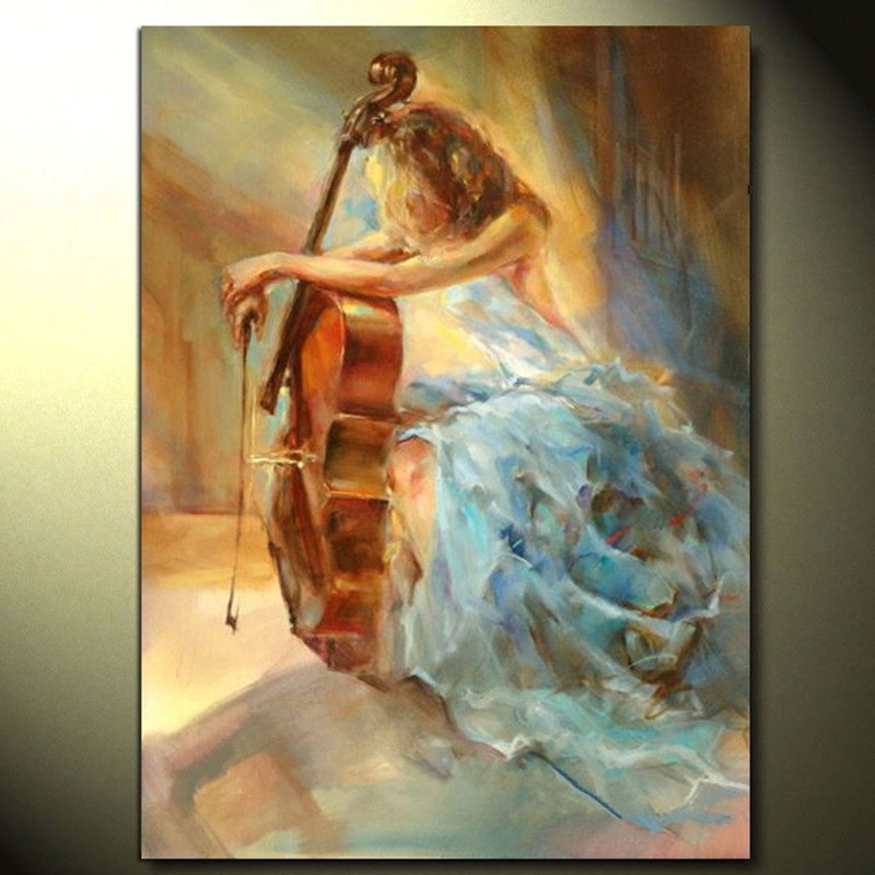 Large Modern Home Decoration Wall Art Picture Hand painted Abstract Women Paintings Handmade Gril Cello Oil