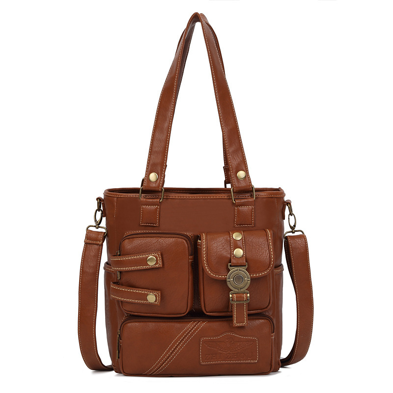 New Women Shoulder Bag Leather Multi-pocket Design Vintage Fashion Women Shoulder Bag Leather Handbag Tote Pu Bag 13 pu leather metal multi zips handbag