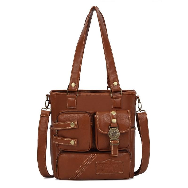 New Women Shoulder Bag Leather Multi-pocket Design Vintage Fashion Women Shoulde