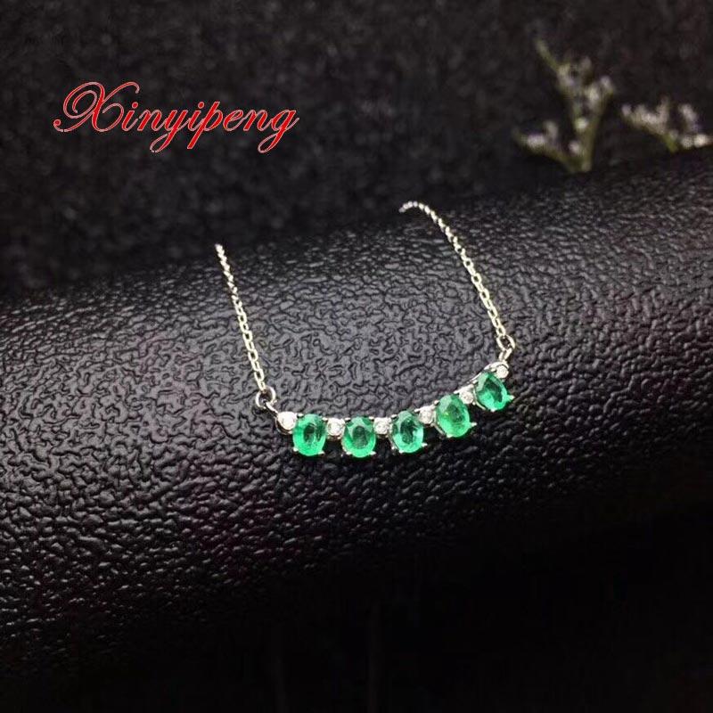 Xin yi peng 925 pendentif collier émeraude naturelle incrustée d'argent plaqué or, chaîne de clavicule femme,