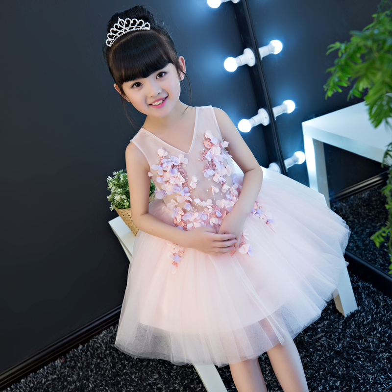 2017 New Korean Fashion Summer Style Girls Kids Flowers Sleeveless Birthday Dress Baby Children Clothes Infant Party Dresses ems dhl free 2018 new lace tulle baby girls kids sleeveless party dress holiday children summer style baby dress valentine