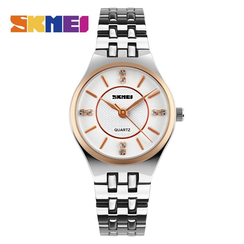 SKMEI Moda Para Mujer Nuevos Relojes de Cuarzo de Primeras Marcas Reloj de Lujo Correa de Acero Inoxidable para Mujer Vestido de Damas Reloj de pulsera 1133