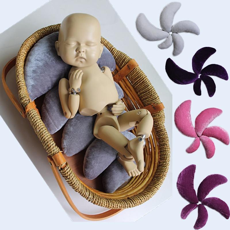 5 teile/satz Crescent Shaped Baby Posiert Kissen Neugeborenen Fotografie Requisiten Infantile Stellungs Kissen Samt Kissen Bilder Füllstoff