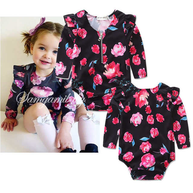 0d658888a Valentines Clothes Long Sleeve Spring Autumn Floral Baby Jumpsuits ...