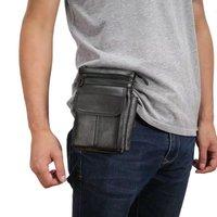 Cell Phone Case Genuine Leather Zipper Pouch Belt Clip Waist Purse Case Cover For AGM A1Q