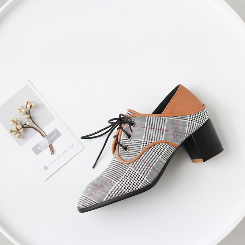 plus size 34 43 Spring Autumn New Plaid Canvas Women Pumps Square High Heel Square Toe Fashion Lace Up Women Shoes Zapatos Mujer in Women 39 s Pumps from Shoes