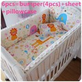 Promotion! 6pcs 100% Cotton Baby Girl Bedding Set Baby Crib Bed Set Crib Bumpers Baby Sheet (bumpers+sheet+pillow cover)
