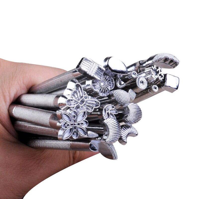 1 ensemble (20 pièces) cuir sculpture main travail selle faisant des outils gravure artisanat ensemble en cuir impression maroquinerie outils pour sac