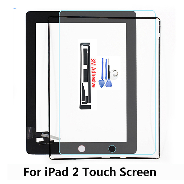 Touch Screen for iPad2 A1395 A1396 A1397 Model 9.7 inch Digitizer Front Pane Touchscreen with Tempered Glass Middle Frame