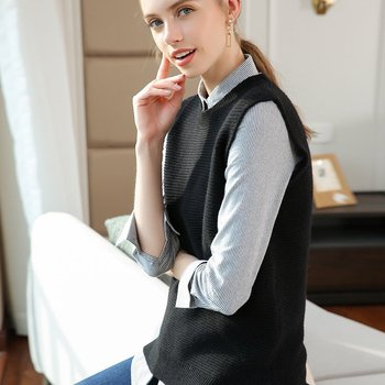 Women's O-neck Pure 100 Cashmere Knit Whorl Vest Fine Knitted Sleeveless Pullover Thick Female Sleeveless Swaeter All Match
