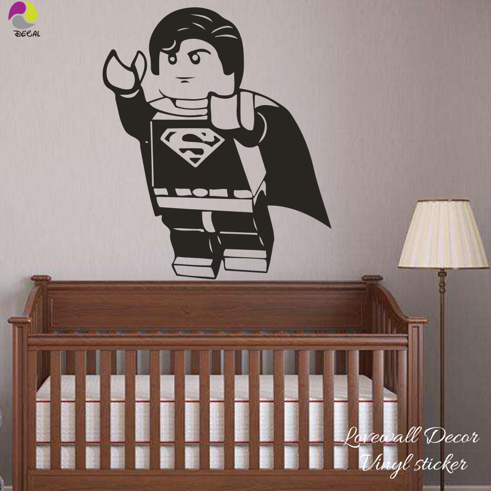 Cartoon Lego Superman Wall Sticker Boy Room Kids Room Lego - Lego superhero wall decals