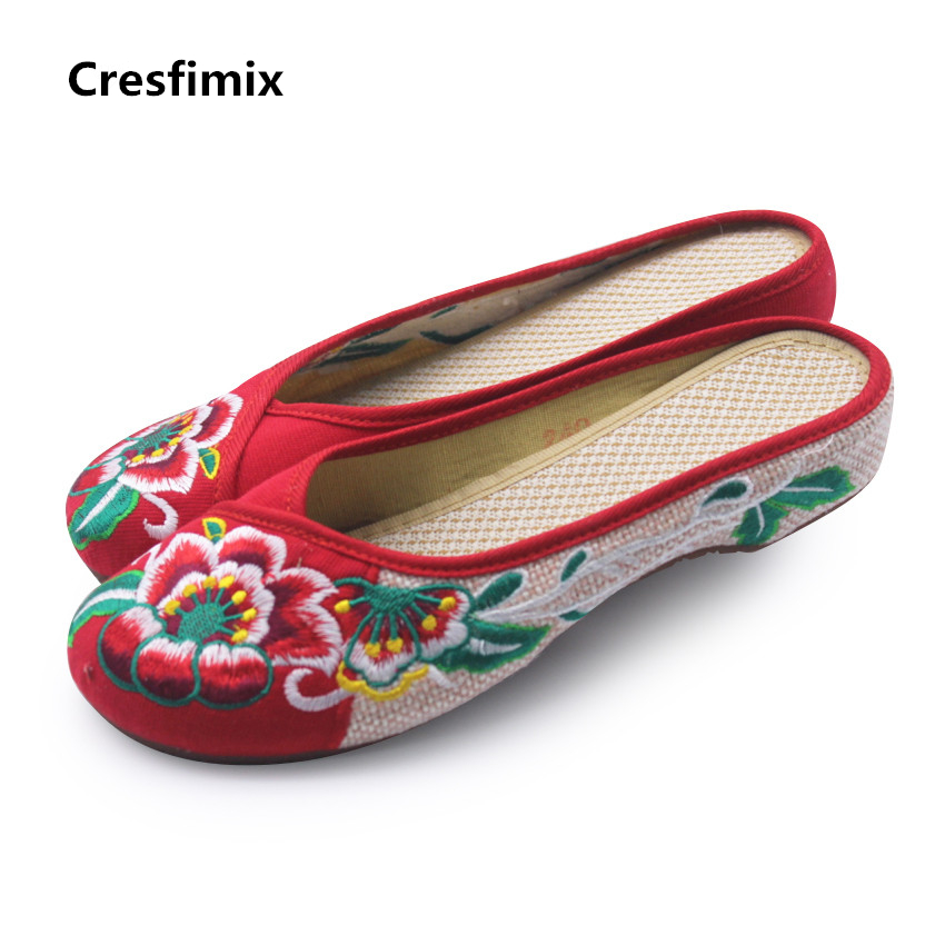 Cresfimix women cute chinese vintage style embroidered cloth shoes lady cute retro slip on sandal shoes female cool flat shoes cresfimix women cute spring summer slip on flat shoes with pearl female casual street flats lady fashion pointed toe shoes