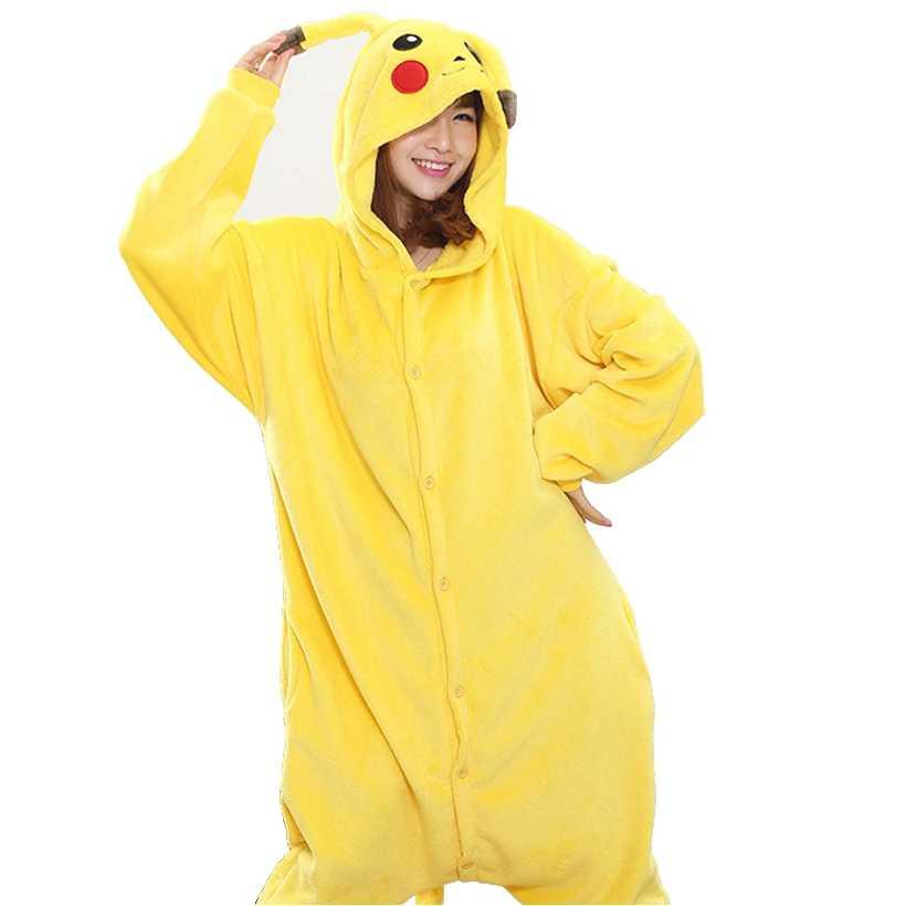 061cf77c513f Покемон пижама Пикачу комплект для женщин мужчин унисекс взрослых животных  Pijama фланель Onesie пижамы Толстовка Хэллоуин