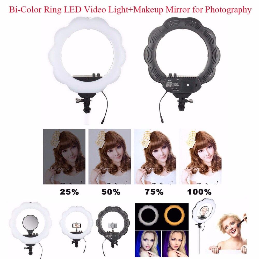 ES384 anneau bicolore LED lumière de remplissage vidéo + miroir de maquillage 384 pièces SMD LED s 3000 K-6000 K lumière pour Studio photographie noir