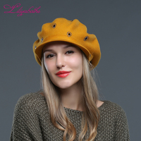 LILIYABAIHE NEW Women Hat Knitted Wool Angora Winter Brim Hat Decorated With Artificial Cap For Girl
