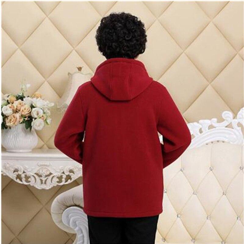 Middle-aged Autumn Fleece Outerwear 2018 Plus size 5XL Slim Hooded Women Jacket Solid color Warm Casual Short Winter Jacket Coat 3