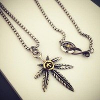 Titanium Steel Weed Leaf Pendant Necklace Anchor Rudder Charm Link Chain Men S Vintage Natical Jewelry