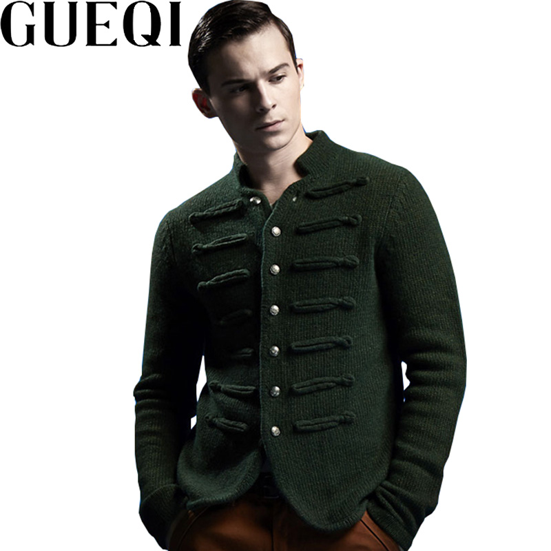 Gueqi brand men wool sweaters size m 2xl single breasted design clothing man casual cardigans green