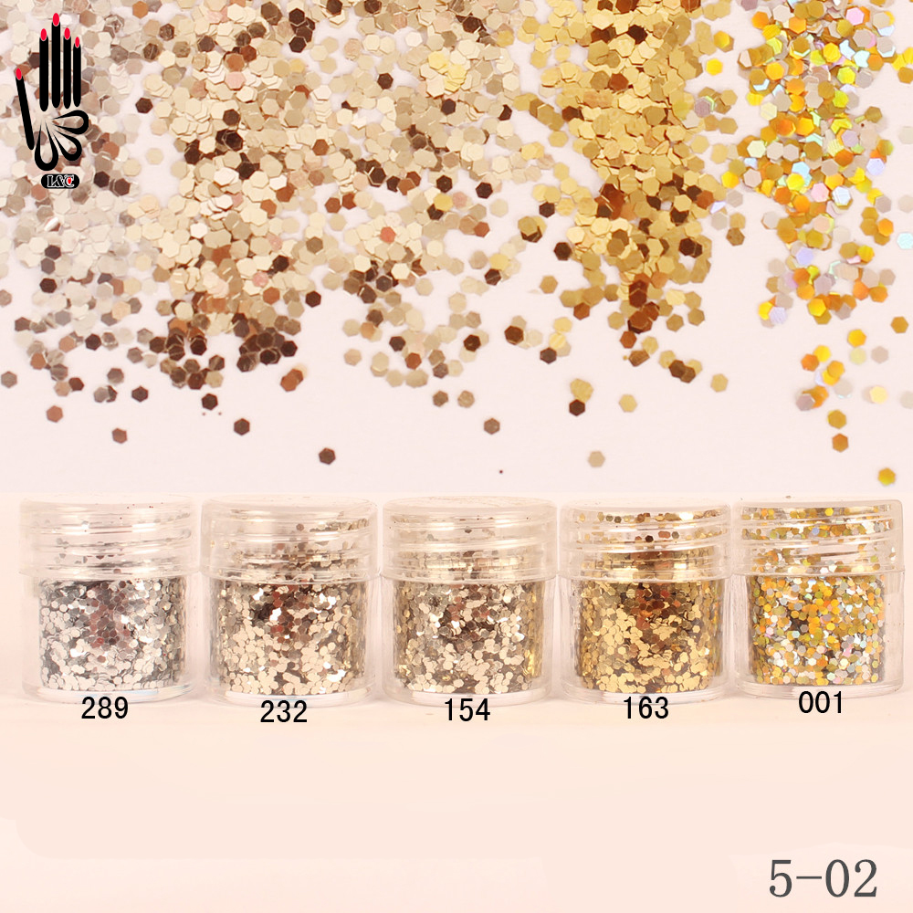 Nails Art & Werkzeuge 1 Glas/box 10 Ml Nagel Champagner Silber Gold Nagel Glitter Hex Pailletten Pulver Papier Für Nail Art Dekoration Optional 300 Farben 5-02